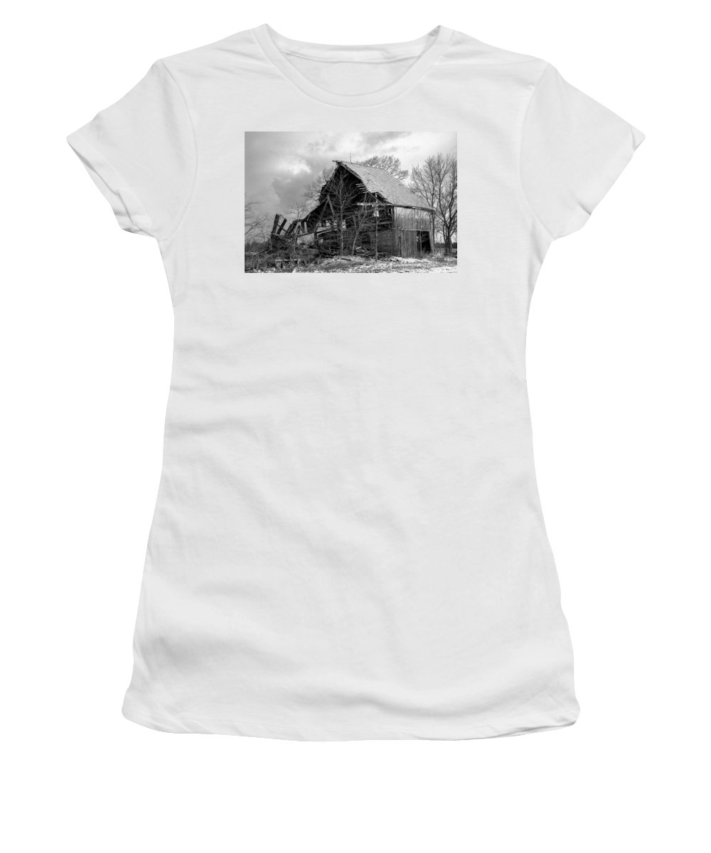 Old Barn Women's T-Shirt (Athletic Fit) featuring the photograph Forgotten by Adam Murray