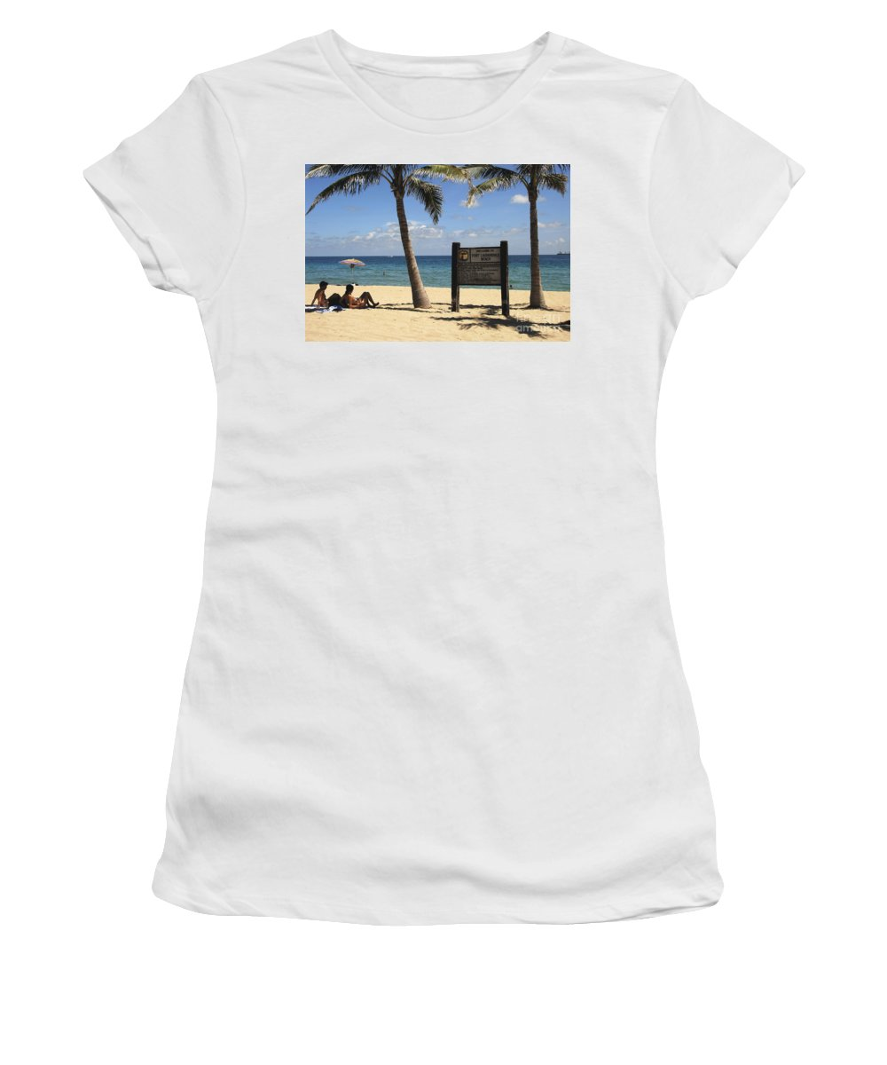 Fort Lauderdale Beach Florida Women's T-Shirt (Athletic Fit) featuring the photograph Fort Lauderdale Beach by David Lee Thompson