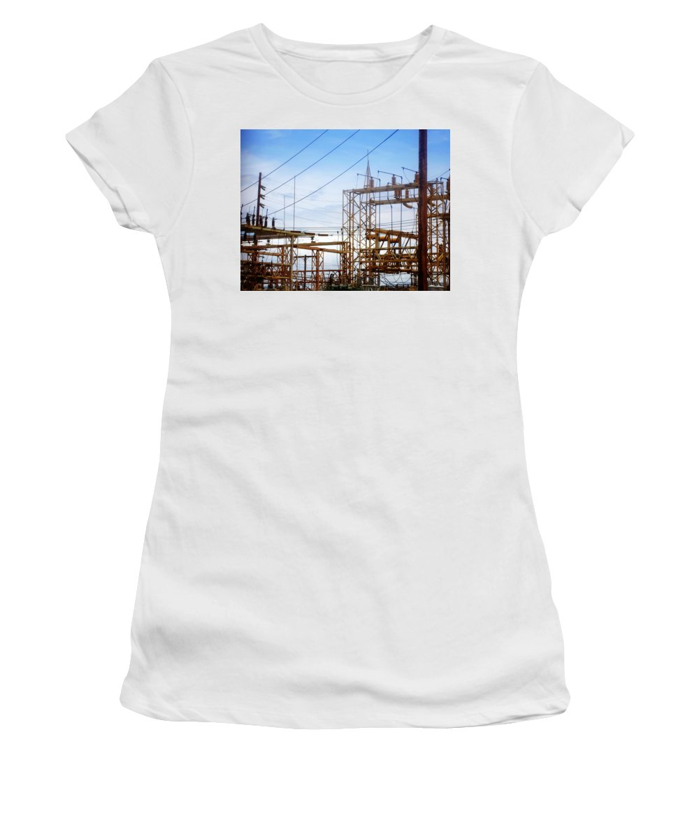 Power Lines Women's T-Shirt featuring the photograph Fossil Power by Jill Reger