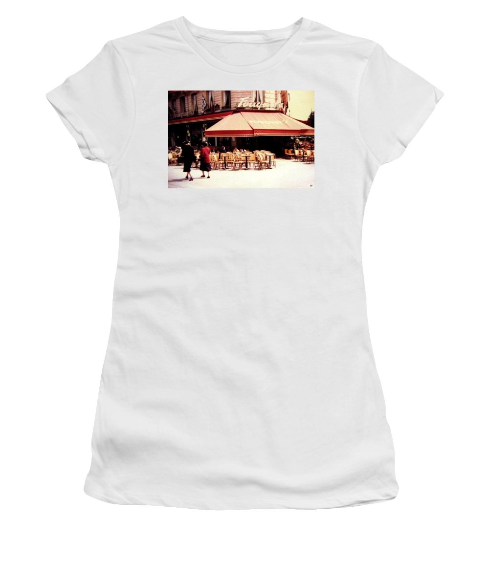 1955 Women's T-Shirt (Athletic Fit) featuring the photograph Fouquets Of Paris 1955 by Will Borden