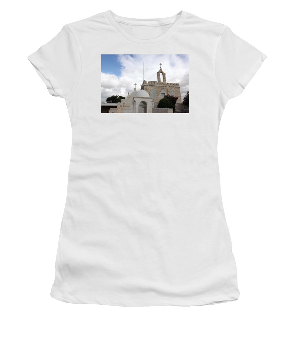 Milk Grotto Women's T-Shirt featuring the photograph Four Crosses by Munir Alawi