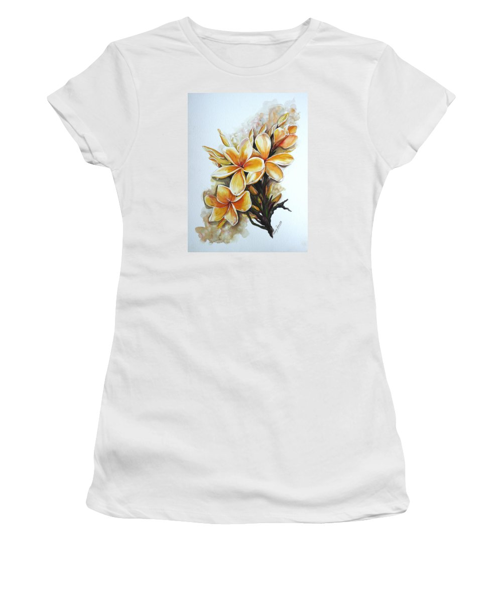 Caribbean Paintings Flower Paintings Floral Paintings  Women's T-Shirt (Athletic Fit) featuring the painting Frangipangi  Sold by Karin Dawn Kelshall- Best