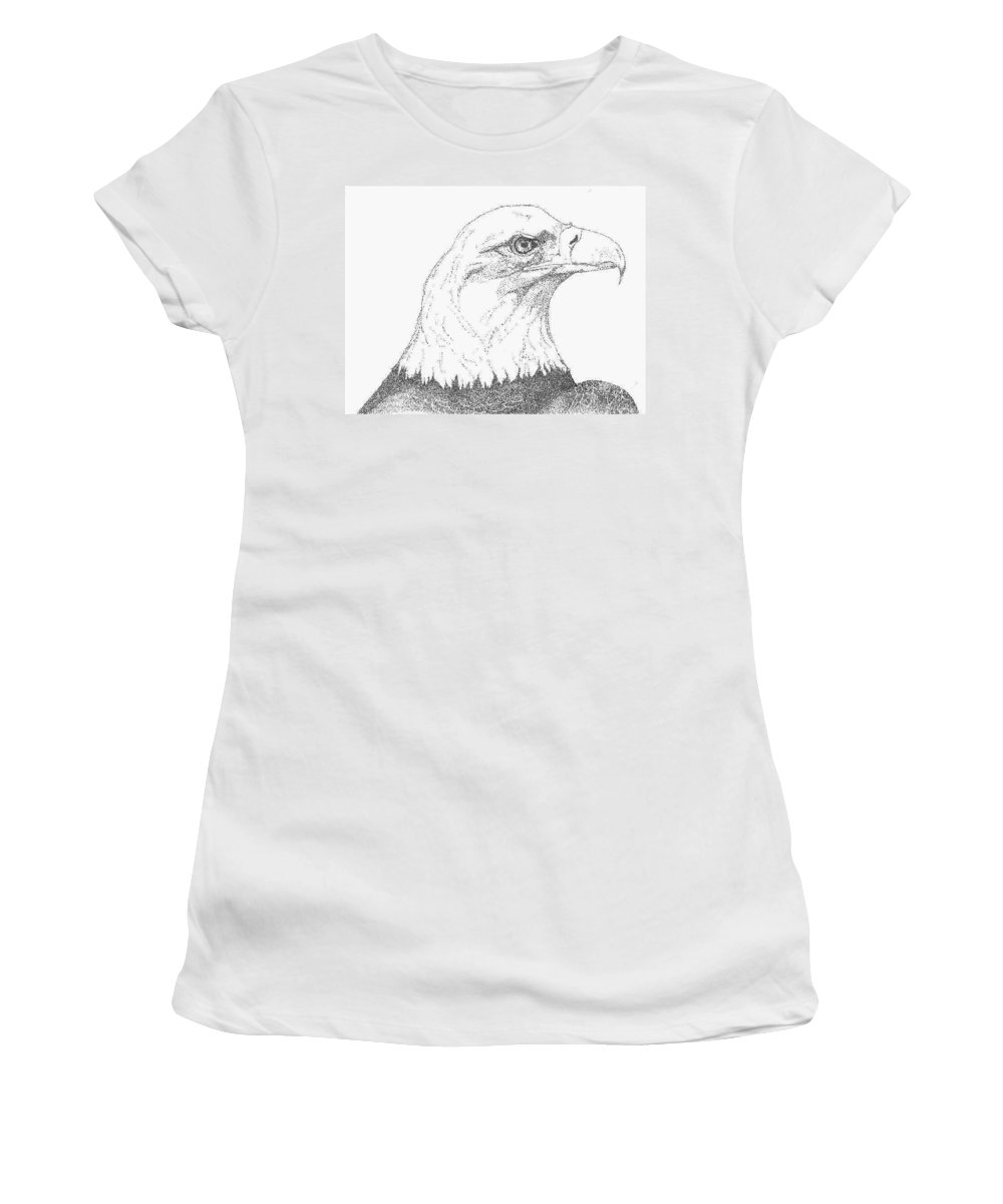 Eagle Women's T-Shirt (Athletic Fit) featuring the drawing Freedom by Debra Sandstrom