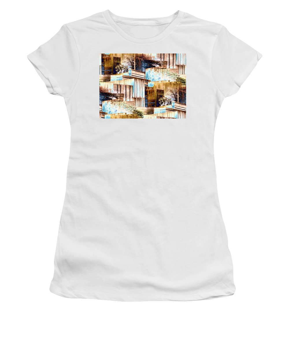 Seattle Women's T-Shirt (Athletic Fit) featuring the digital art Freeway Park by Tim Allen
