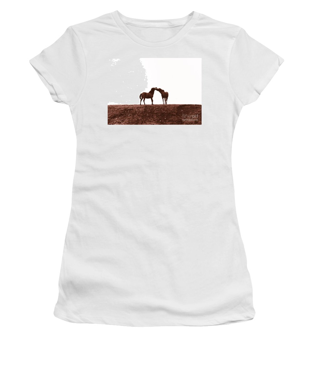 Horse Women's T-Shirt (Athletic Fit) featuring the photograph Friends-2 by Casper Cammeraat