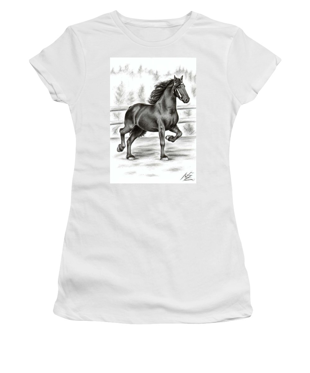 Horse Women's T-Shirt (Athletic Fit) featuring the drawing Friesian Horse by Nicole Zeug