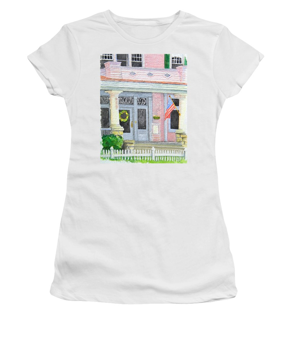 Front Porch Women's T-Shirt (Athletic Fit) featuring the painting Front Porch by Gale Cochran-Smith