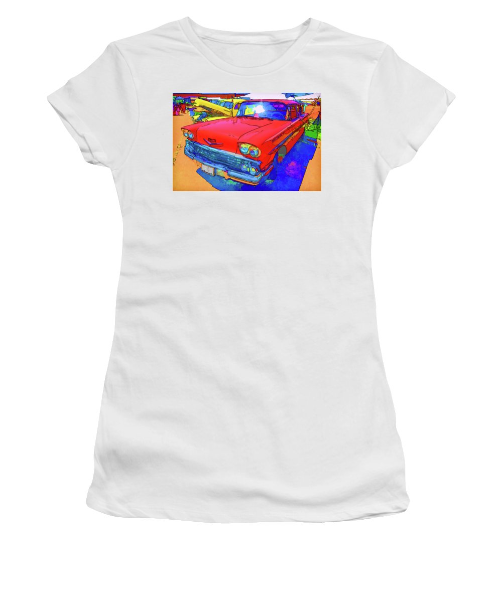 Red Retro Car Women's T-Shirt featuring the painting Front View Of Red Retro Car by Jeelan Clark
