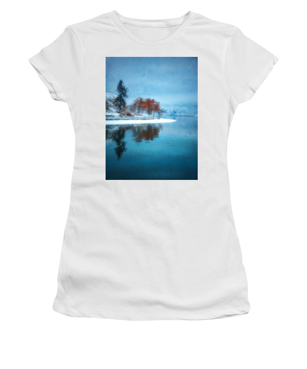 Blue Women's T-Shirt (Athletic Fit) featuring the photograph Frosty Reflection by Tara Turner