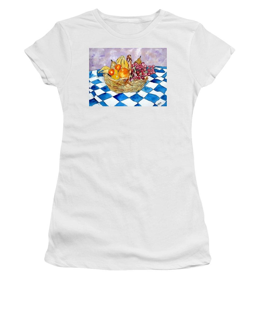 Fruit Basket Women's T-Shirt (Athletic Fit) featuring the painting Fruit Basket Still Life 2 Painting by Derek Mccrea