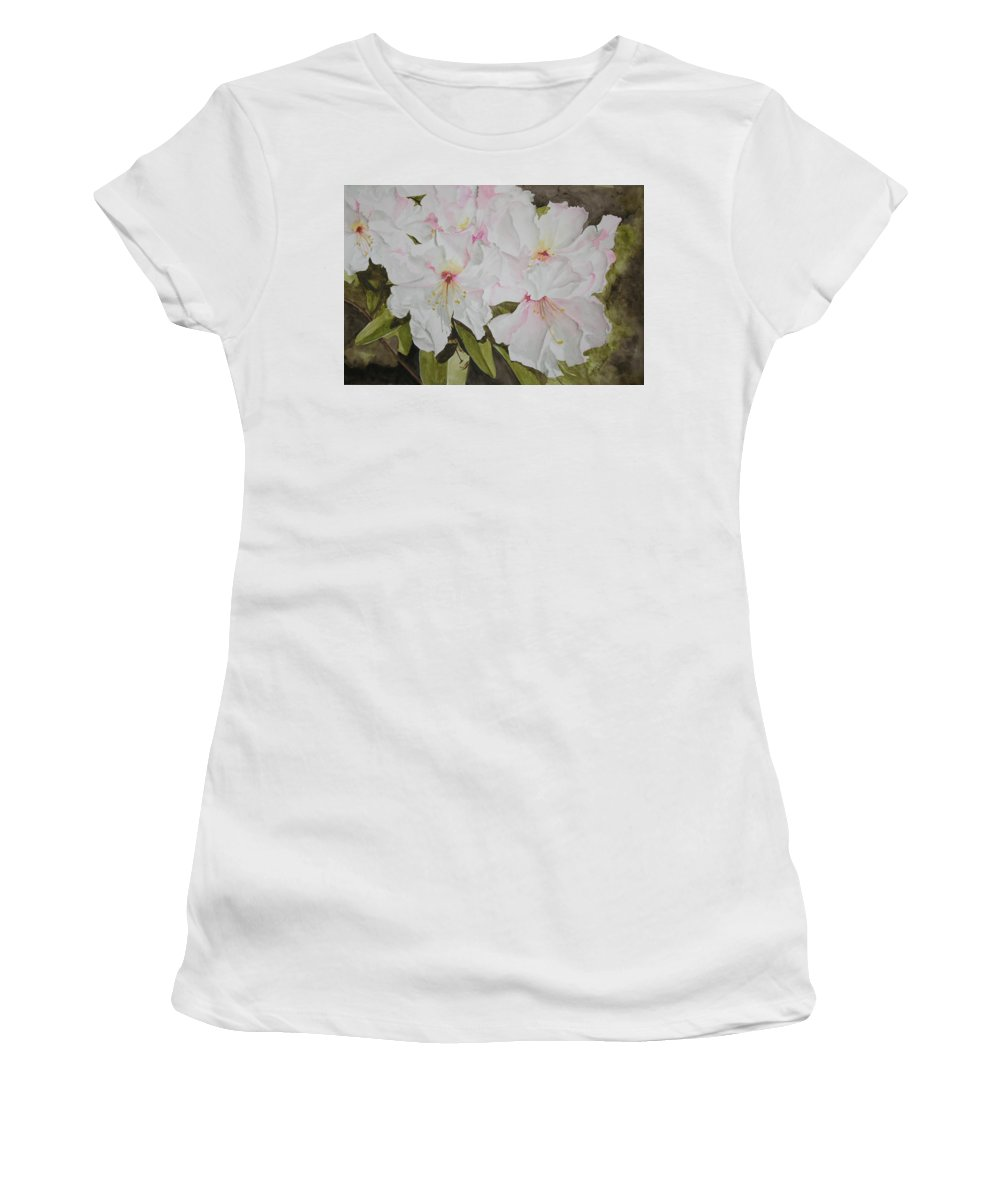 Flowers Women's T-Shirt (Athletic Fit) featuring the painting Full Bloom by Jean Blackmer