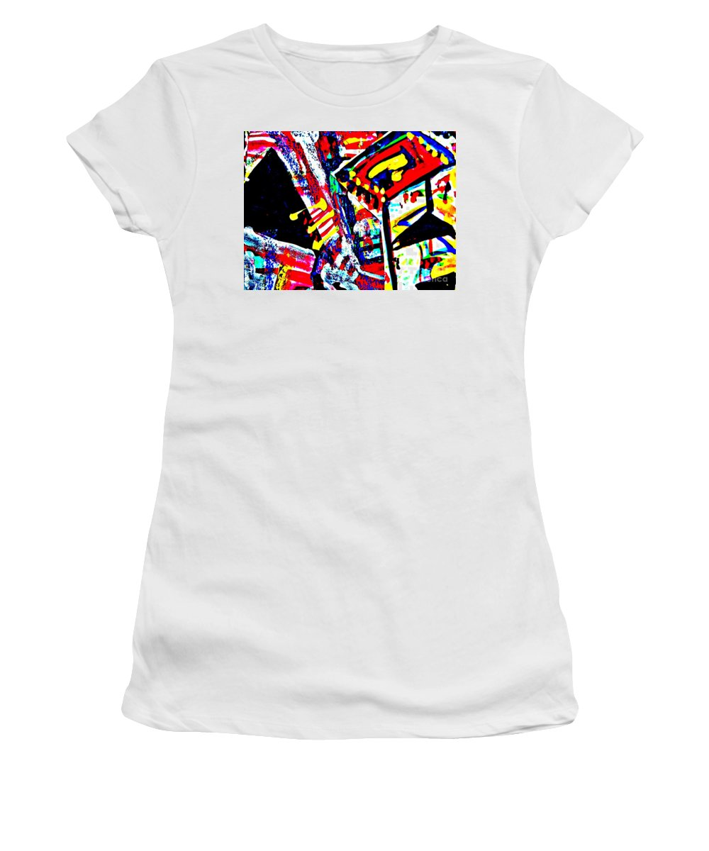 Katerina Stamatelos Women's T-Shirt (Athletic Fit) featuring the painting Funky Pop-10 by Katerina Stamatelos
