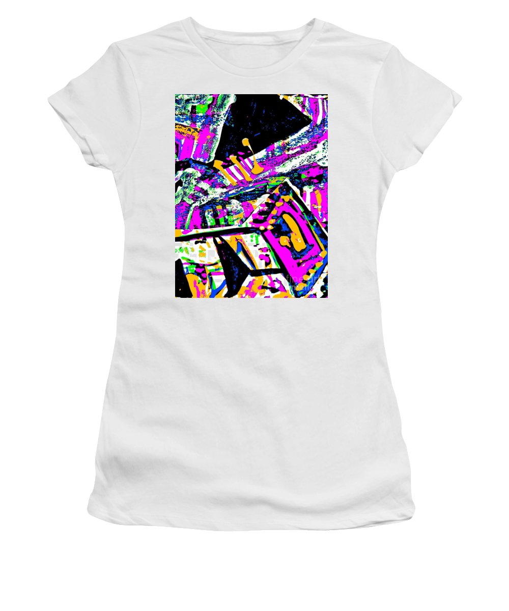 Katerina Stamatelos Women's T-Shirt (Athletic Fit) featuring the painting Funky Pop-7 by Katerina Stamatelos