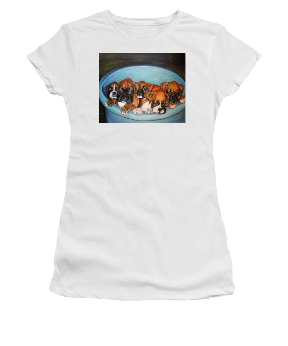Oil Women's T-Shirt (Athletic Fit) featuring the painting Funny Puppies Orginal Oil Painting by Natalja Picugina