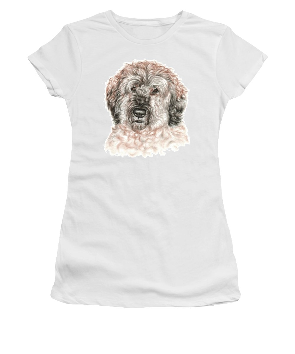Dog Women's T-Shirt featuring the drawing Furry Friend by Nicole Zeug