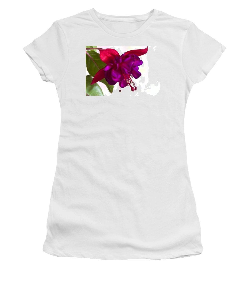 Fuschia Women's T-Shirt featuring the photograph Fuschia Blossom Macro by Sandra Foster