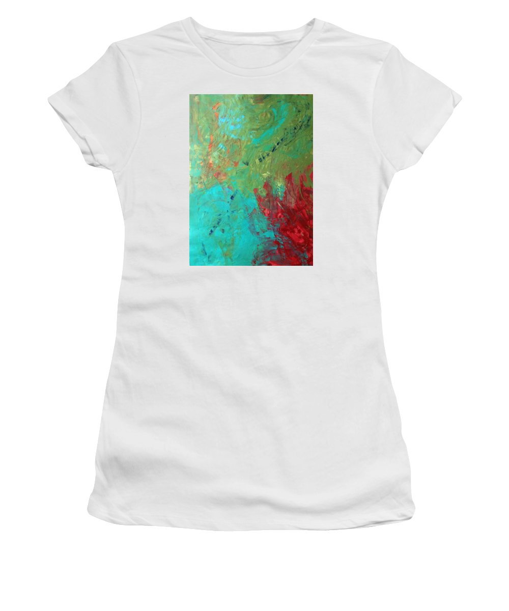 Abstract Art Women's T-Shirt (Athletic Fit) featuring the painting Galaxy At Three Million Years Light by John Dossman