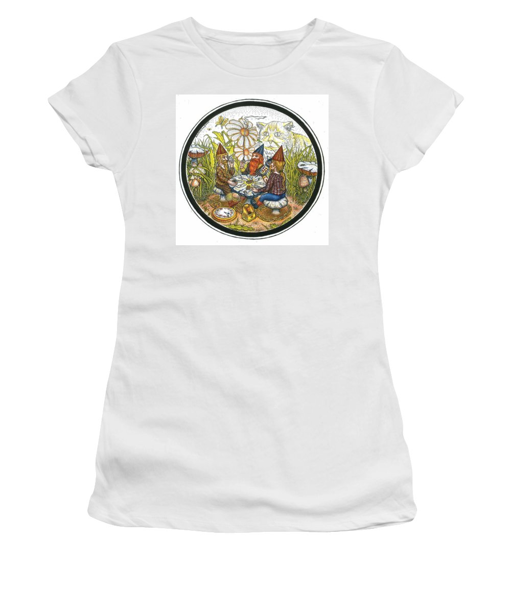 Gnomes Women's T-Shirt (Athletic Fit) featuring the drawing Game Circle by Bill Perkins
