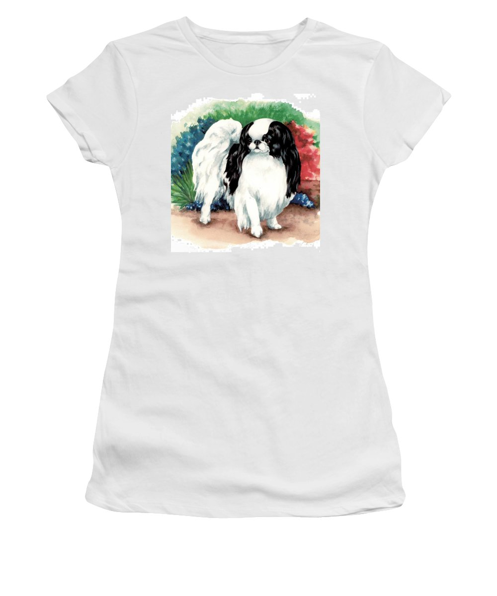Japanese Chin Women's T-Shirt (Athletic Fit) featuring the painting Garden Chin by Kathleen Sepulveda