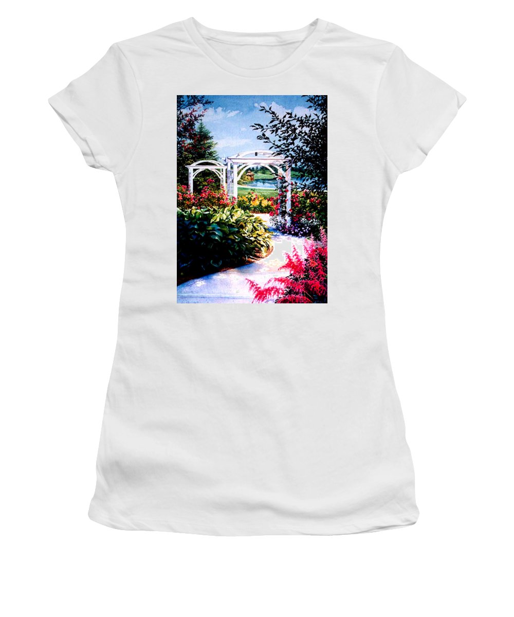 Garden Women's T-Shirt (Athletic Fit) featuring the painting Garden Path by Hanne Lore Koehler