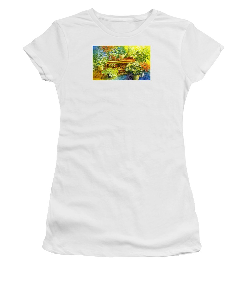 Greenhouse;plants;flowers;gardener;workbench;sprinkling Can;contemporary Women's T-Shirt (Athletic Fit) featuring the painting Gardener's Joy by Lois Mountz