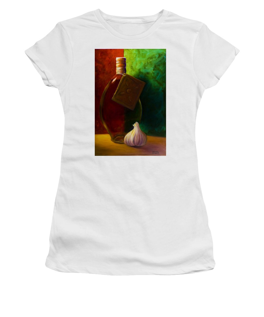 Shannon Grissom Women's T-Shirt (Junior Cut) featuring the painting Garlic And Oil by Shannon Grissom