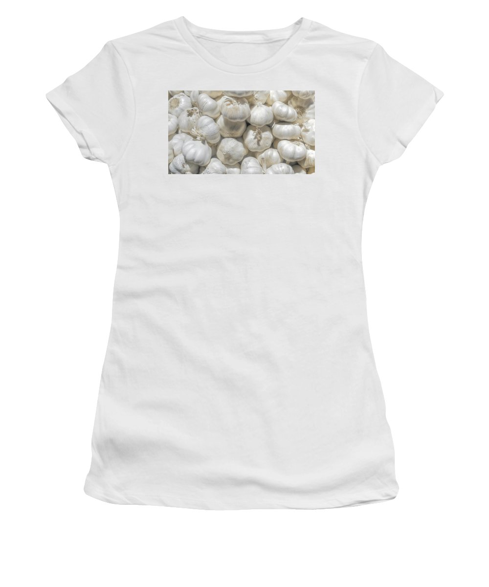 Women's T-Shirt (Athletic Fit) featuring the photograph Garlic by Charuhas Images