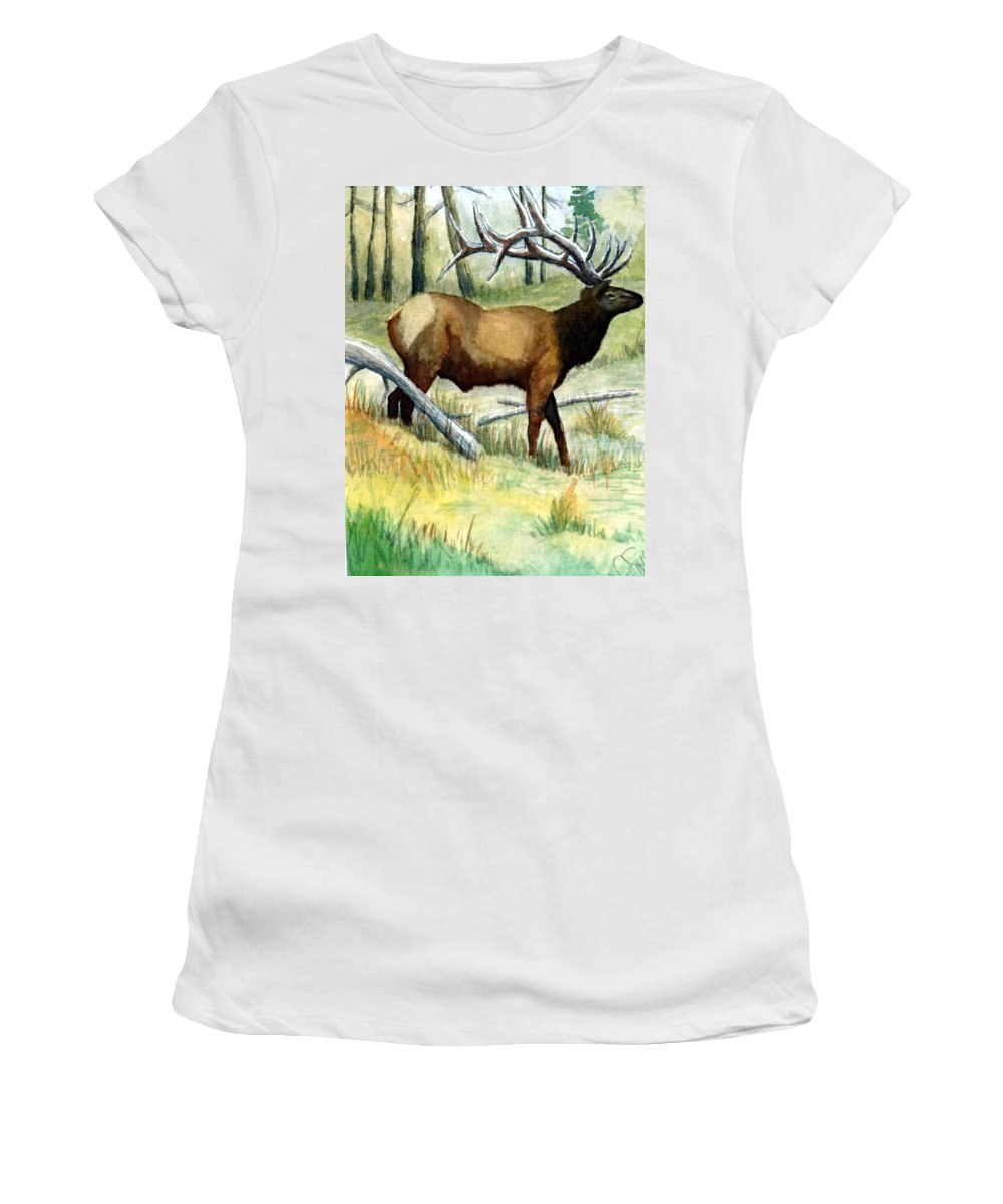 Wildlife Women's T-Shirt (Athletic Fit) featuring the painting Gash Flats Bull by Jimmy Smith
