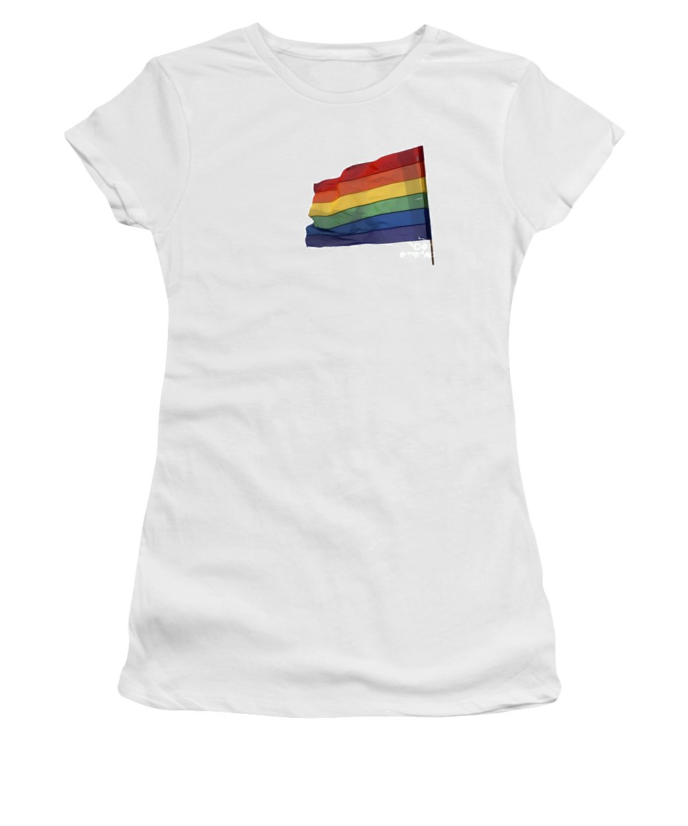 Flag Women's T-Shirt (Athletic Fit) featuring the photograph Gay Rainbow Flag by Ilan Rosen