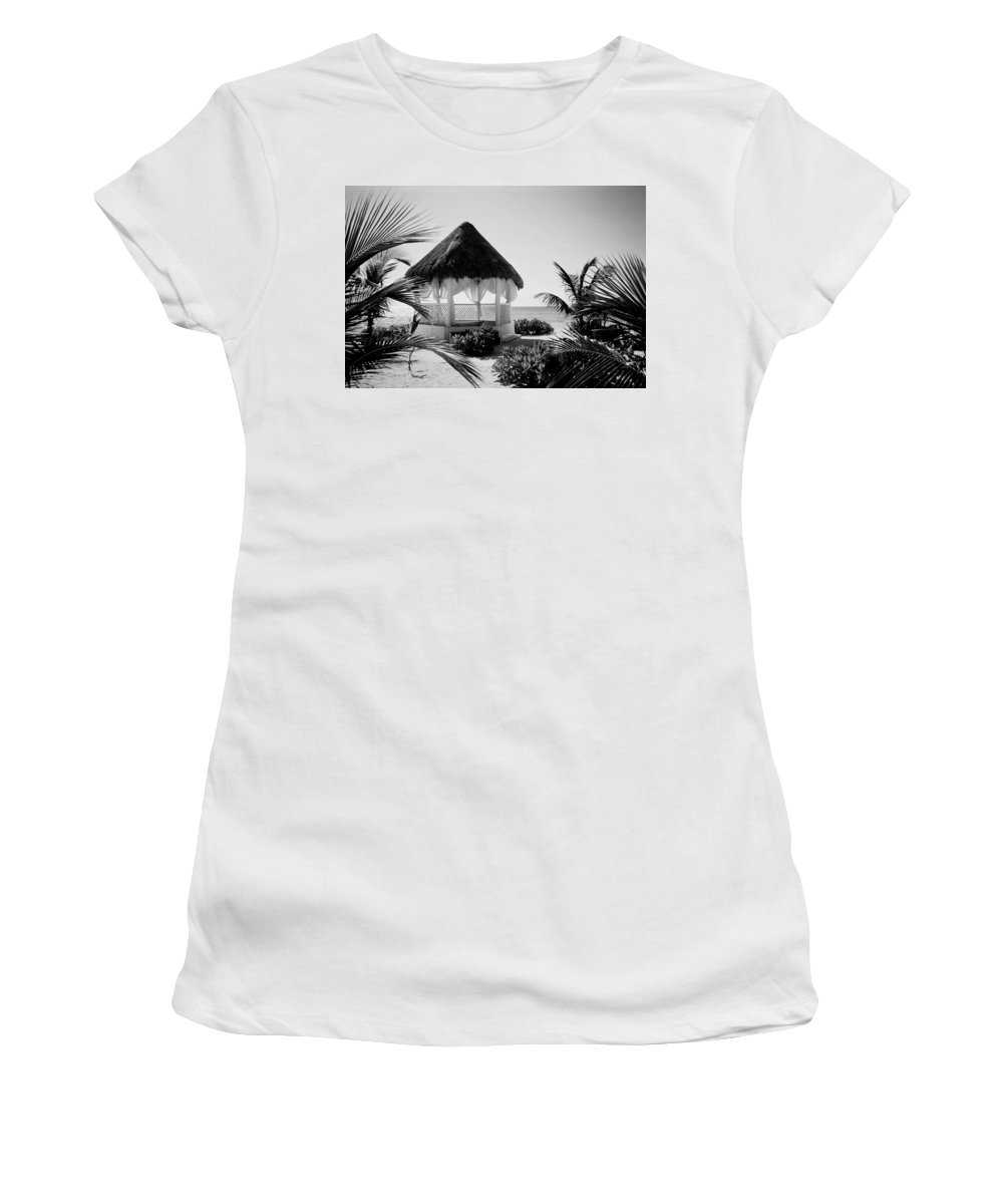 Gazebo Women's T-Shirt (Athletic Fit) featuring the photograph Gazebo On The Ocean by Anita Burgermeister