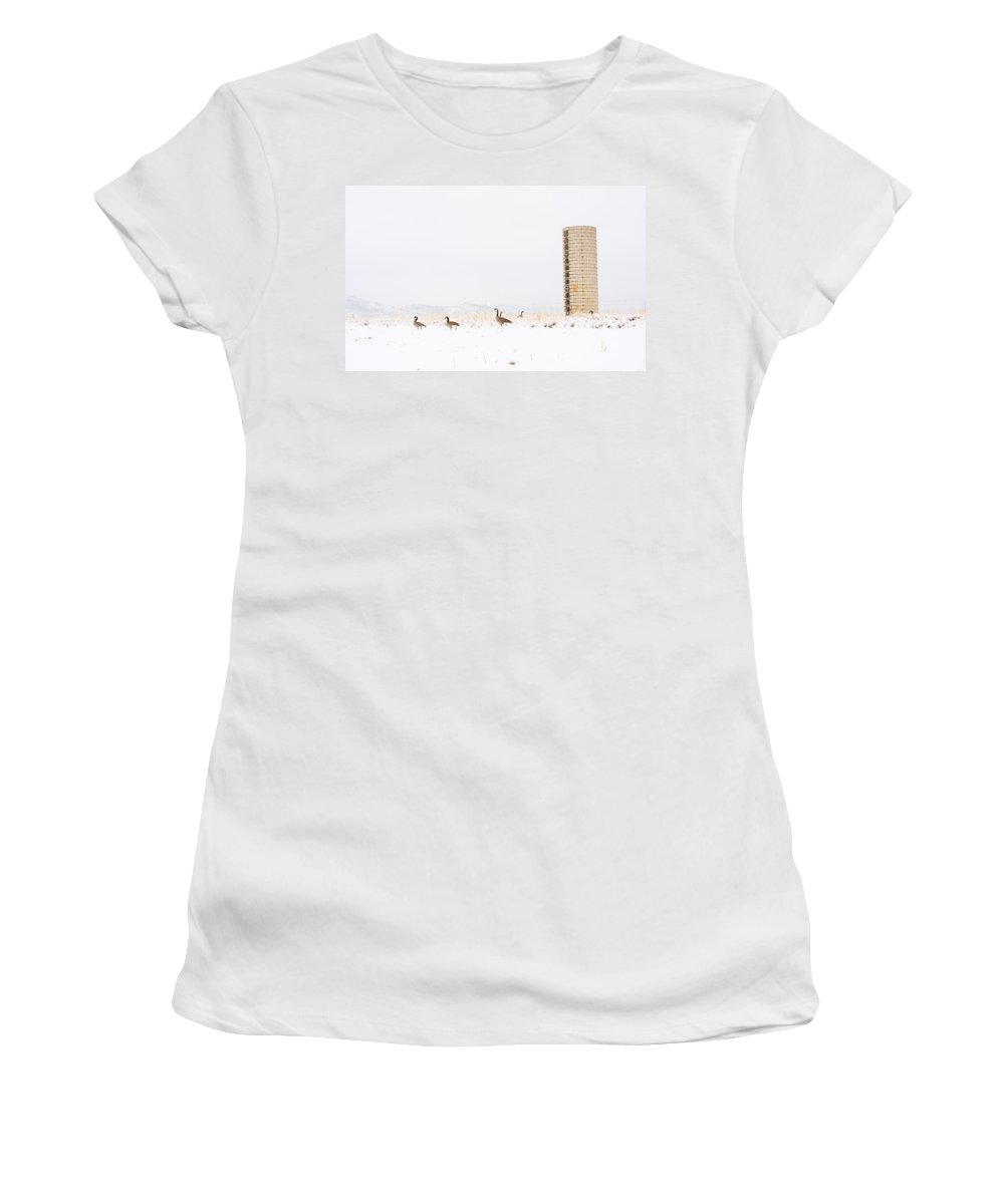 Silo Women's T-Shirt (Athletic Fit) featuring the photograph Geese In The Snow With Silo by James BO Insogna