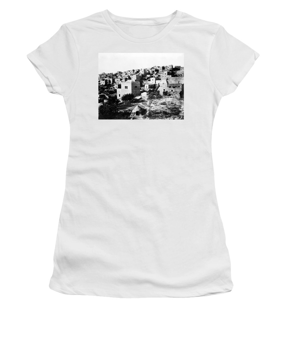Bethlehem Women's T-Shirt (Athletic Fit) featuring the photograph General View Of Bethlehem 1800s by Munir Alawi