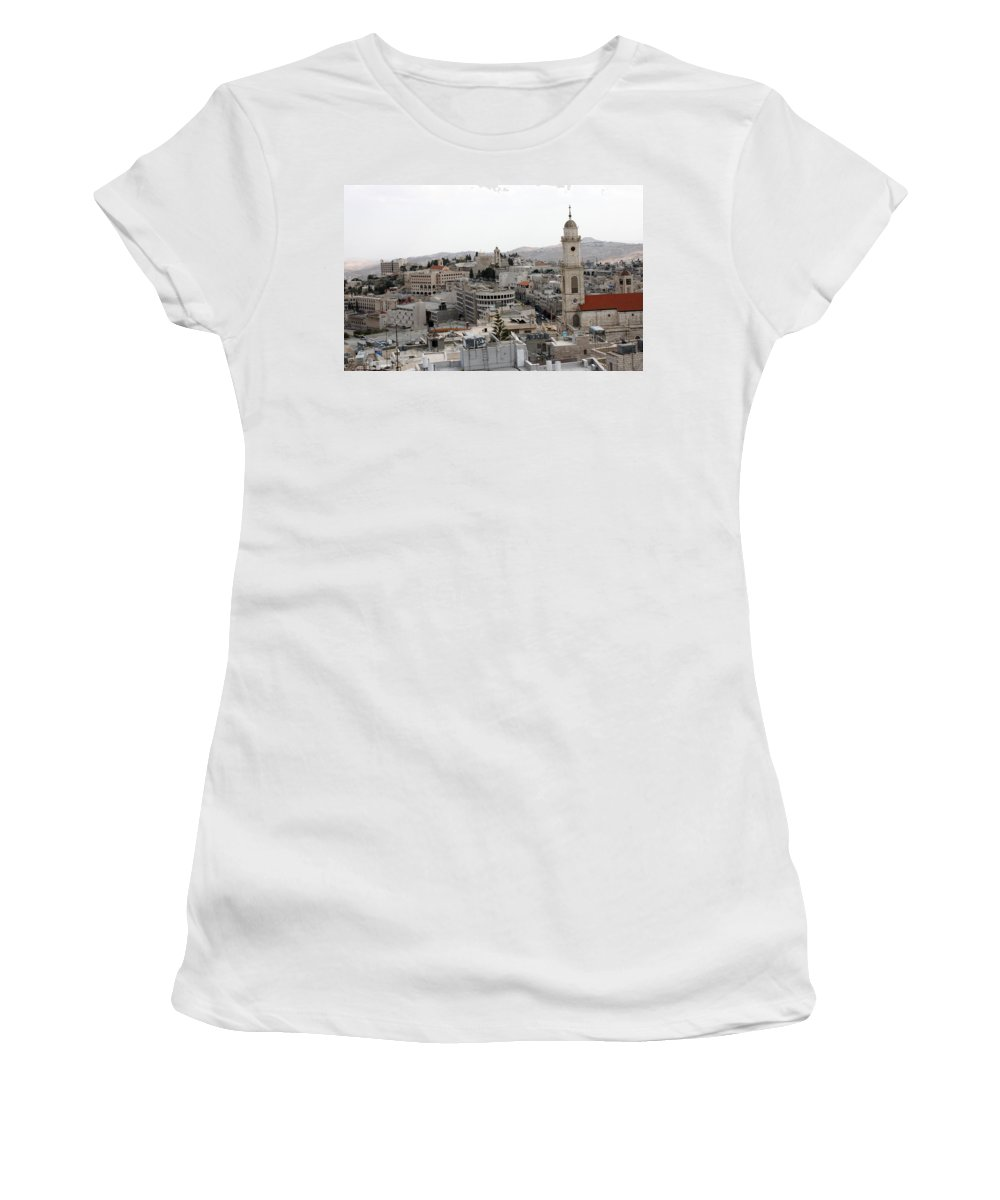 Bethlehem Women's T-Shirt (Athletic Fit) featuring the photograph General View Of Bethlehem 2009 by Munir Alawi