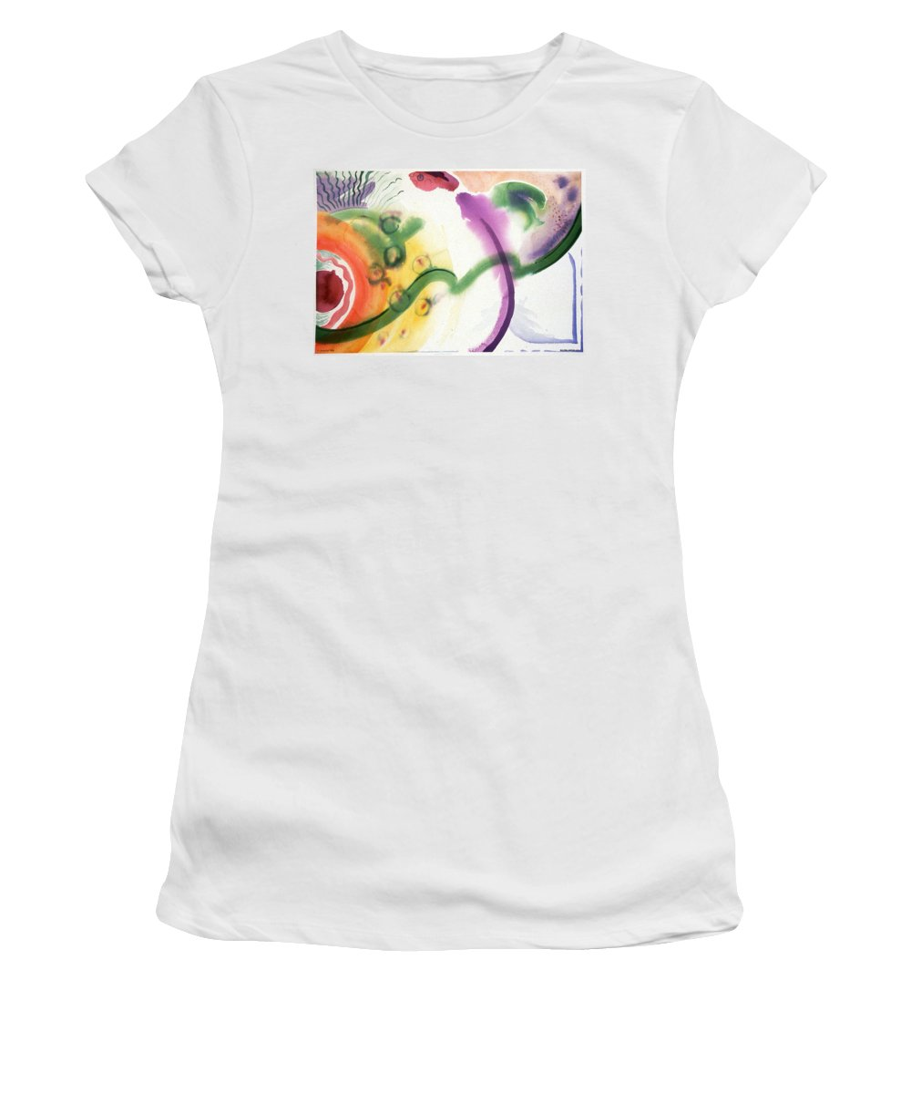 Abstract Women's T-Shirt (Athletic Fit) featuring the painting Geomantic Blossom Ripening by Eileen Hale