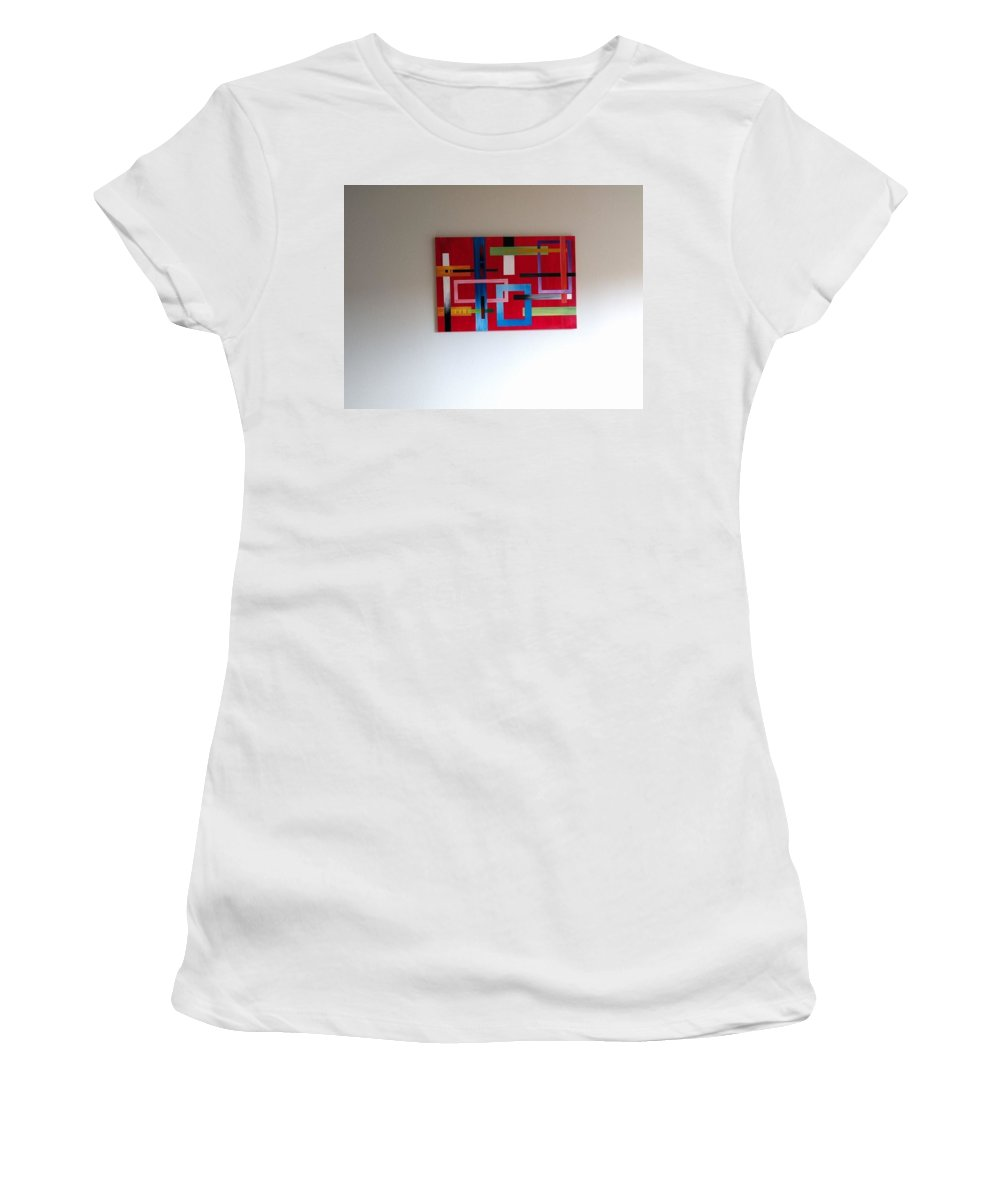 Living Room. Lively Women's T-Shirt (Athletic Fit) featuring the painting Geometrical Abstract by Pankhuri Agrawal