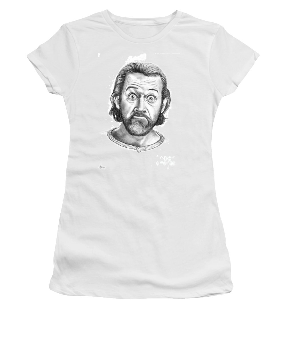 Portrait Women's T-Shirt (Athletic Fit) featuring the drawing George Carlin by Murphy Elliott