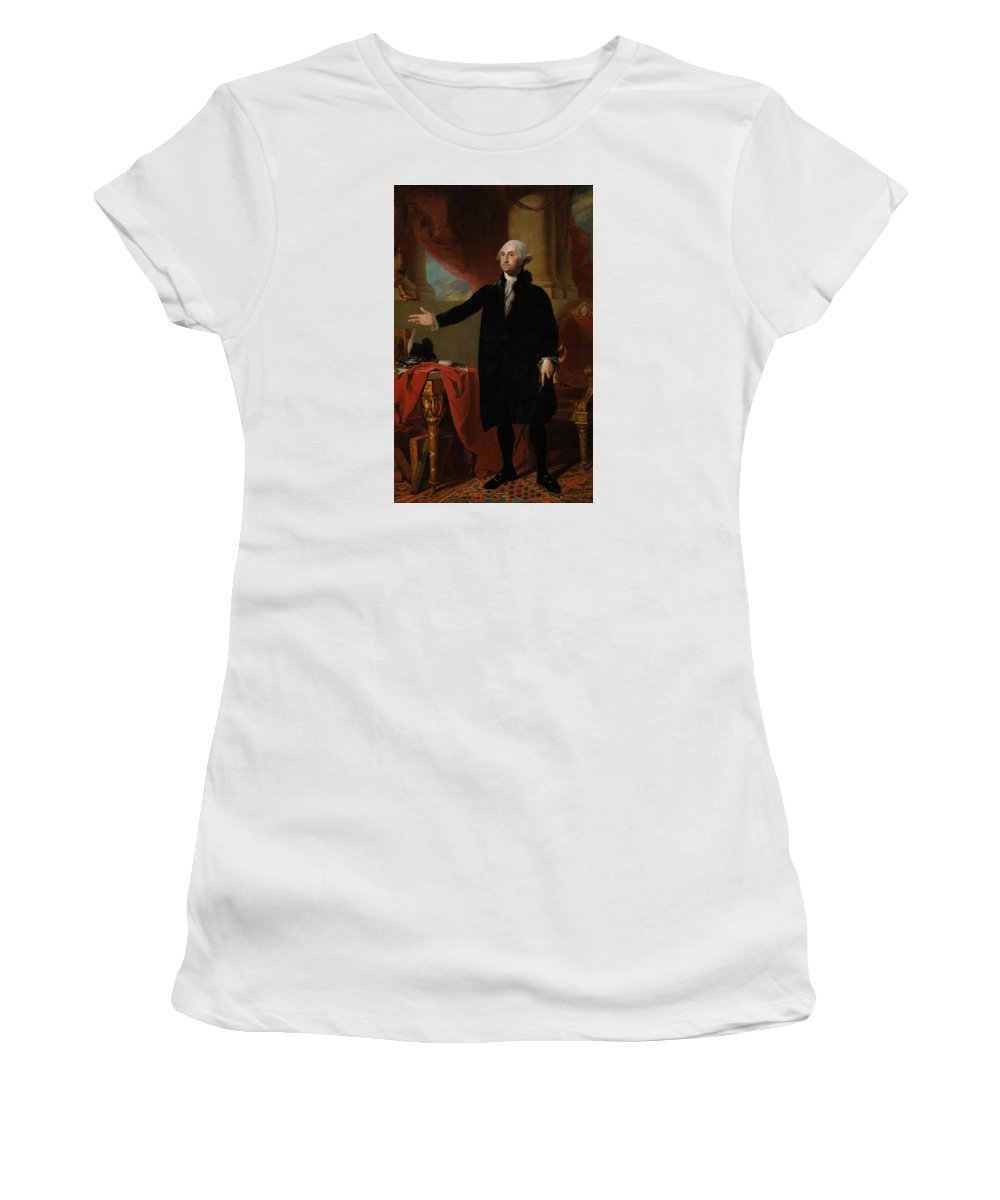 George Washington Women's T-Shirt (Athletic Fit) featuring the painting George Washington Lansdowne Portrait by War Is Hell Store