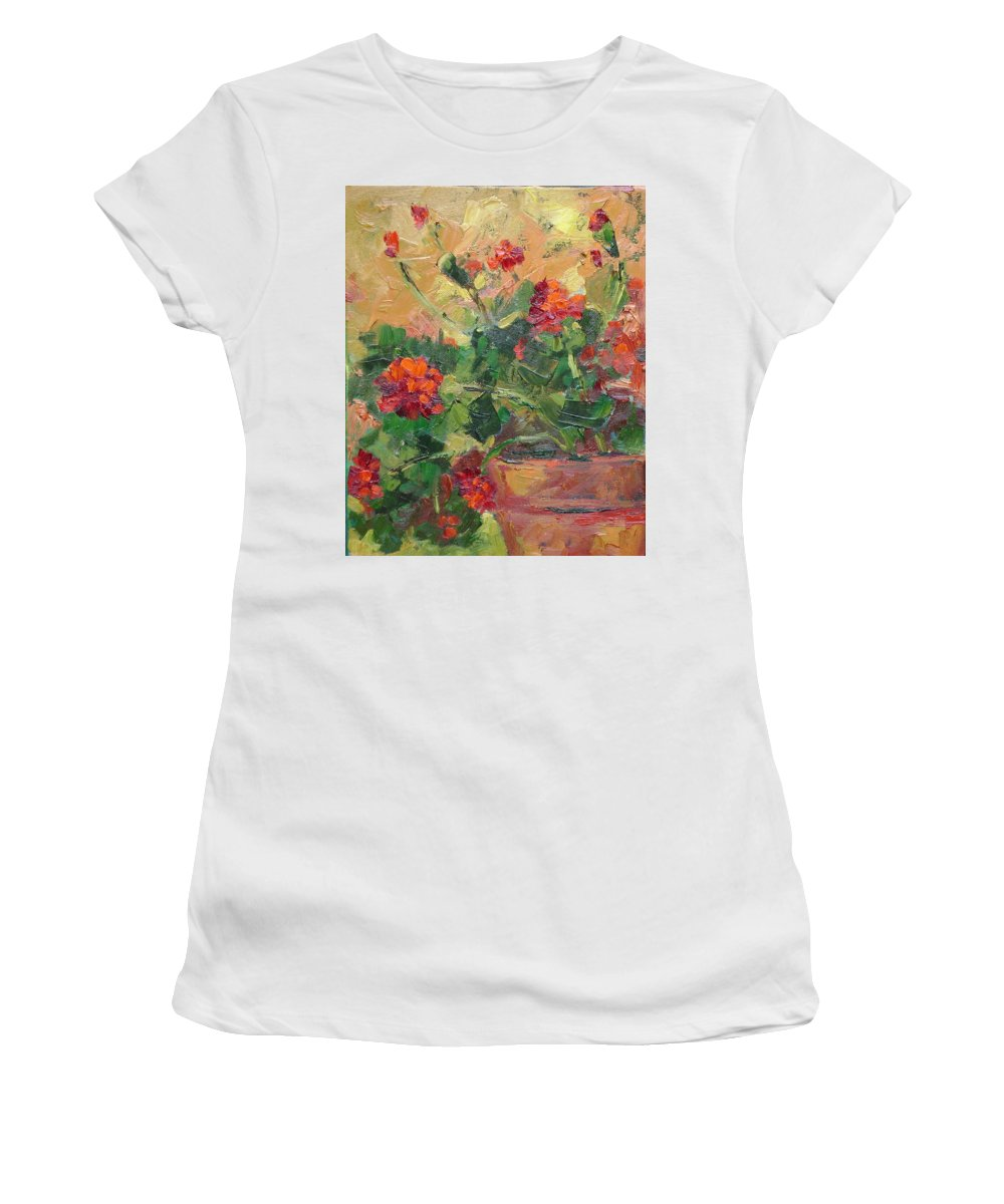 Geraniums Women's T-Shirt (Athletic Fit) featuring the painting Geraniums II by Ginger Concepcion