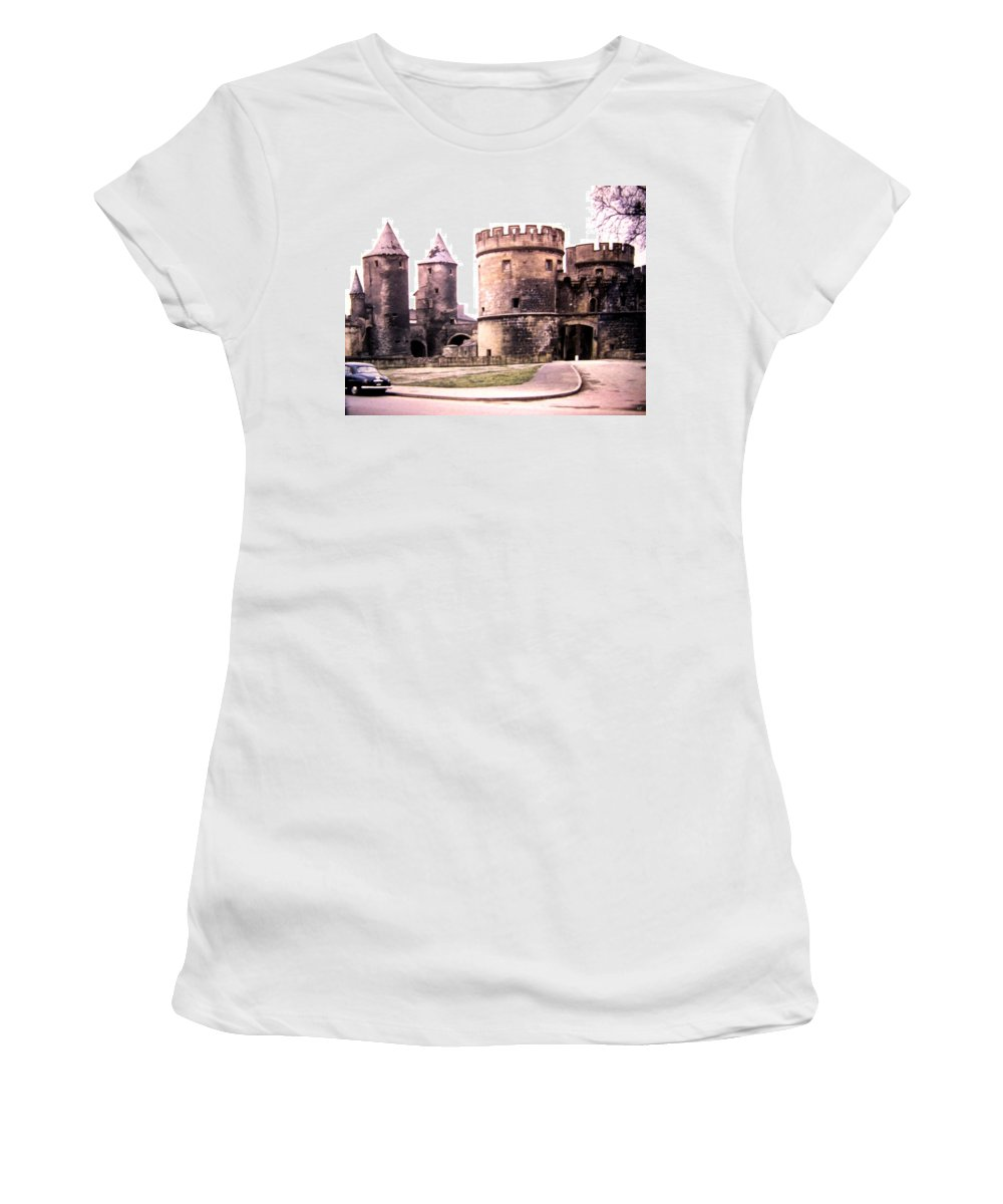 1955 Women's T-Shirt featuring the photograph German Gate In Metz 1955 by Will Borden