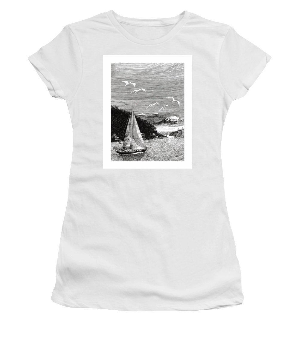 Yacht Portraits Women's T-Shirt (Athletic Fit) featuring the drawing Gig Harbor Sailing School by Jack Pumphrey