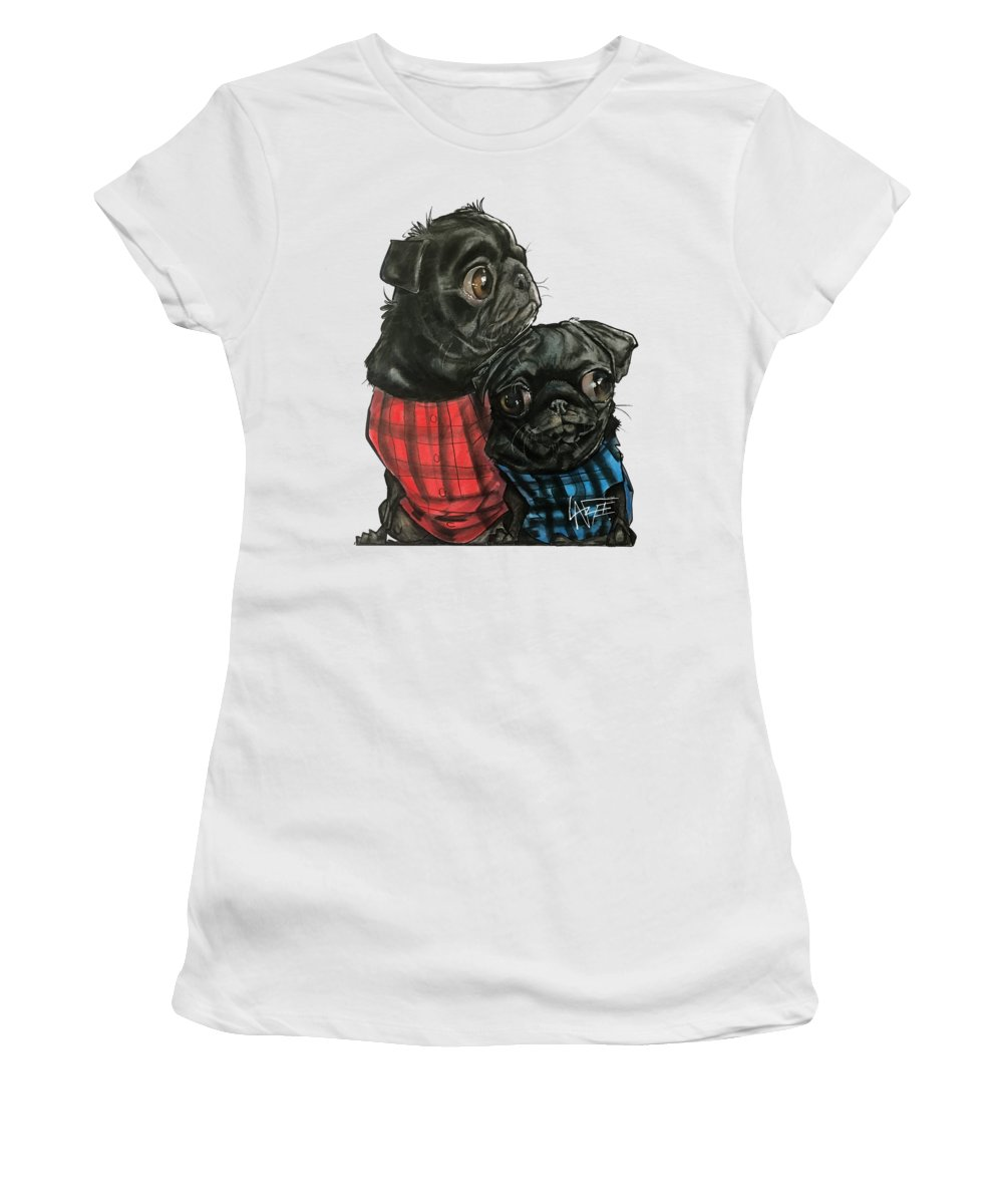 Pet Portrait Women's T-Shirt featuring the drawing Giles 3540 by John LaFree
