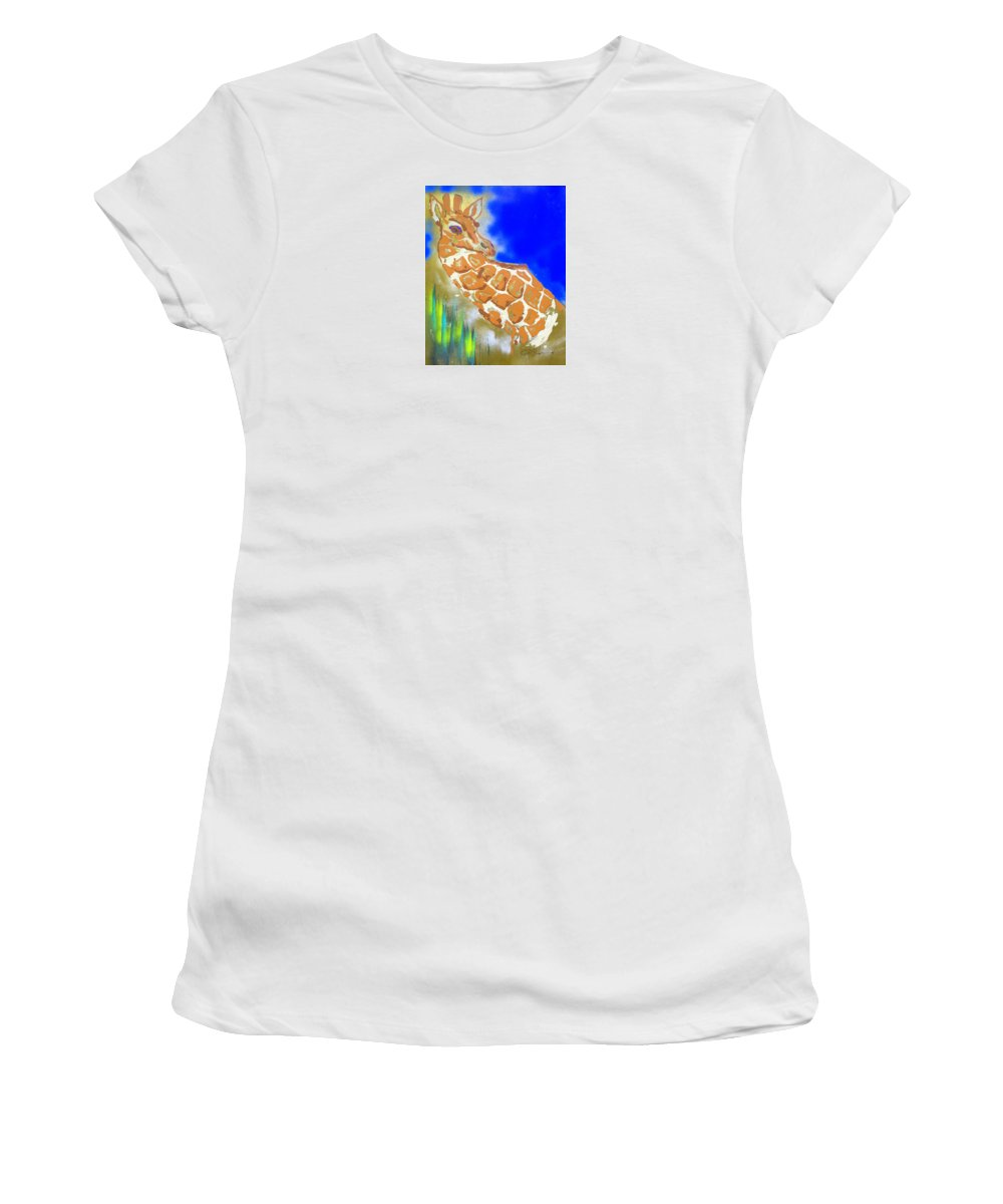 Impressionist Painting Women's T-Shirt (Athletic Fit) featuring the painting Giraffe by J R Seymour