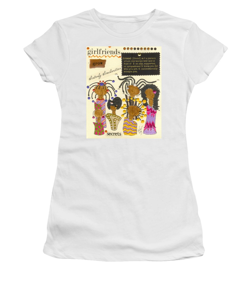 Understanding Women's T-Shirt (Athletic Fit) featuring the mixed media Girlfriends by Angela L Walker