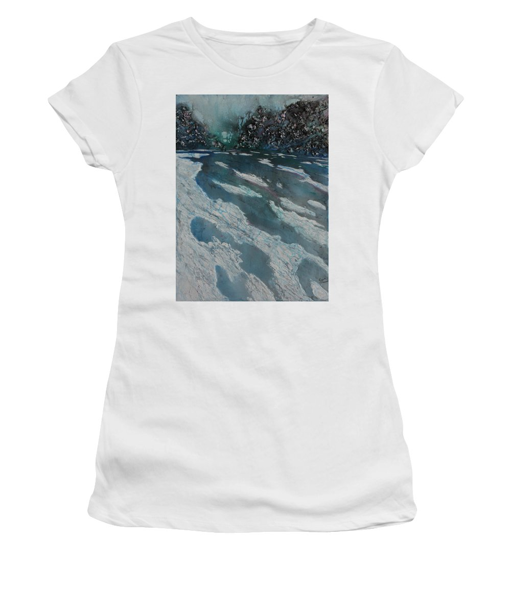 Ice Women's T-Shirt (Athletic Fit) featuring the painting Glacial Moraine by Ruth Kamenev