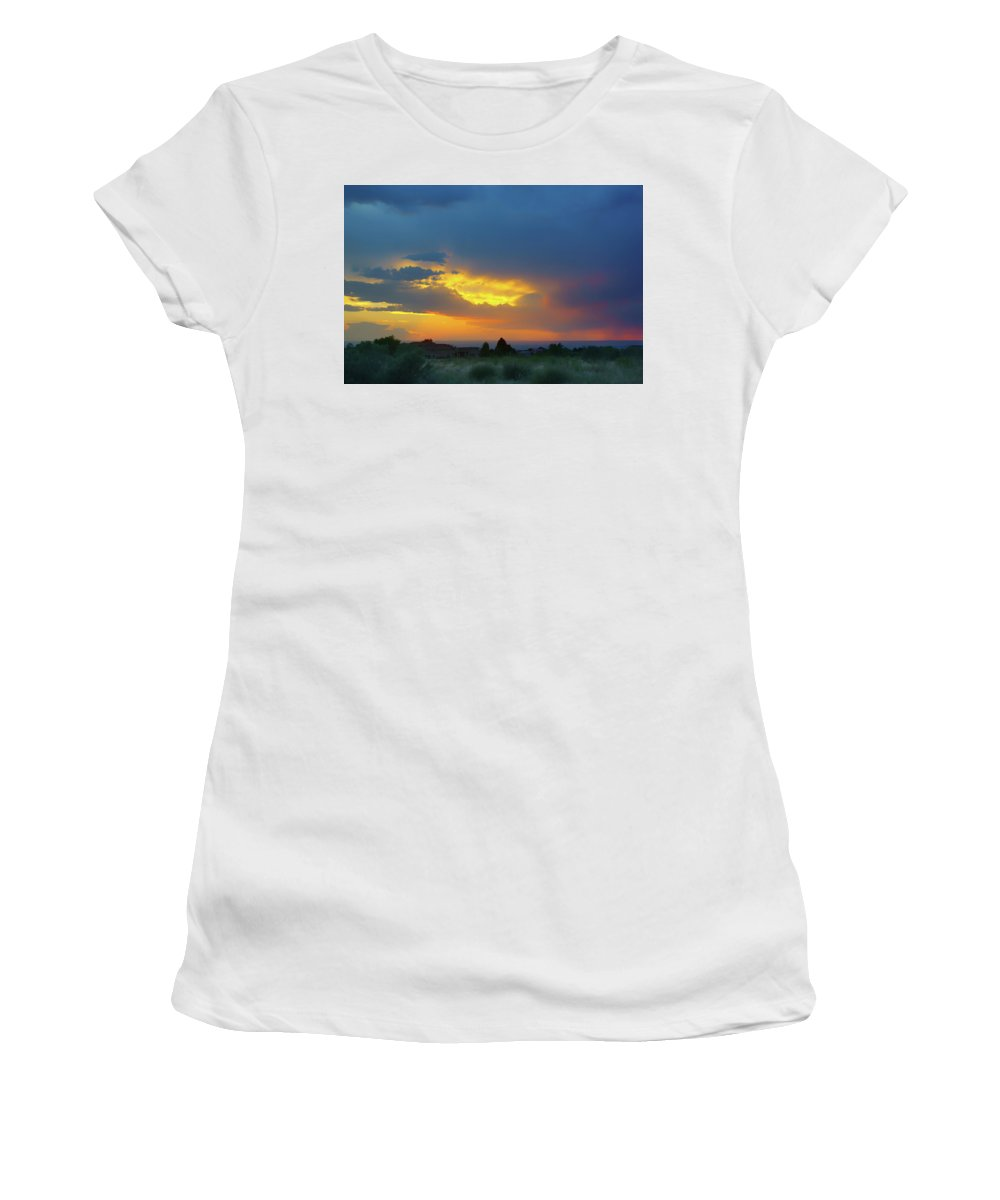 Glory Rays Women's T-Shirt featuring the photograph Glory Rays - Albuquerque by Nikolyn McDonald