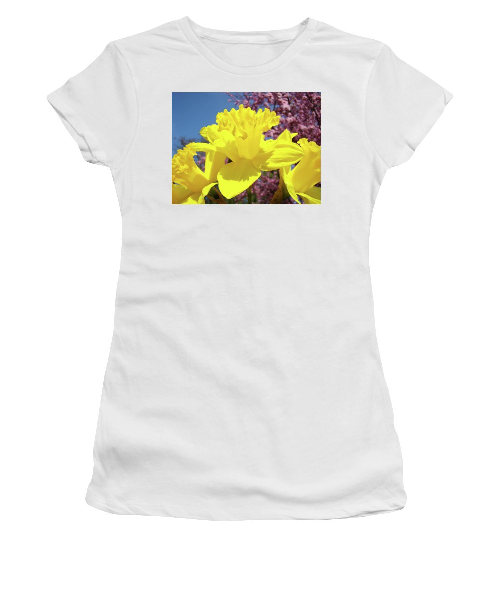 Daffodils Women's T-Shirt (Athletic Fit) featuring the photograph Glowing Yellow Daffodils Art Prints Pink Blossoms Spring Baslee Troutman by Baslee Troutman