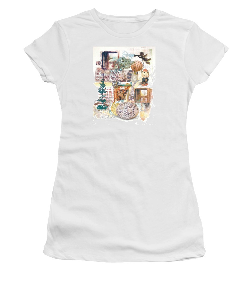 Abstract Women's T-Shirt (Athletic Fit) featuring the painting Go With The Flow by Valerie Meotti
