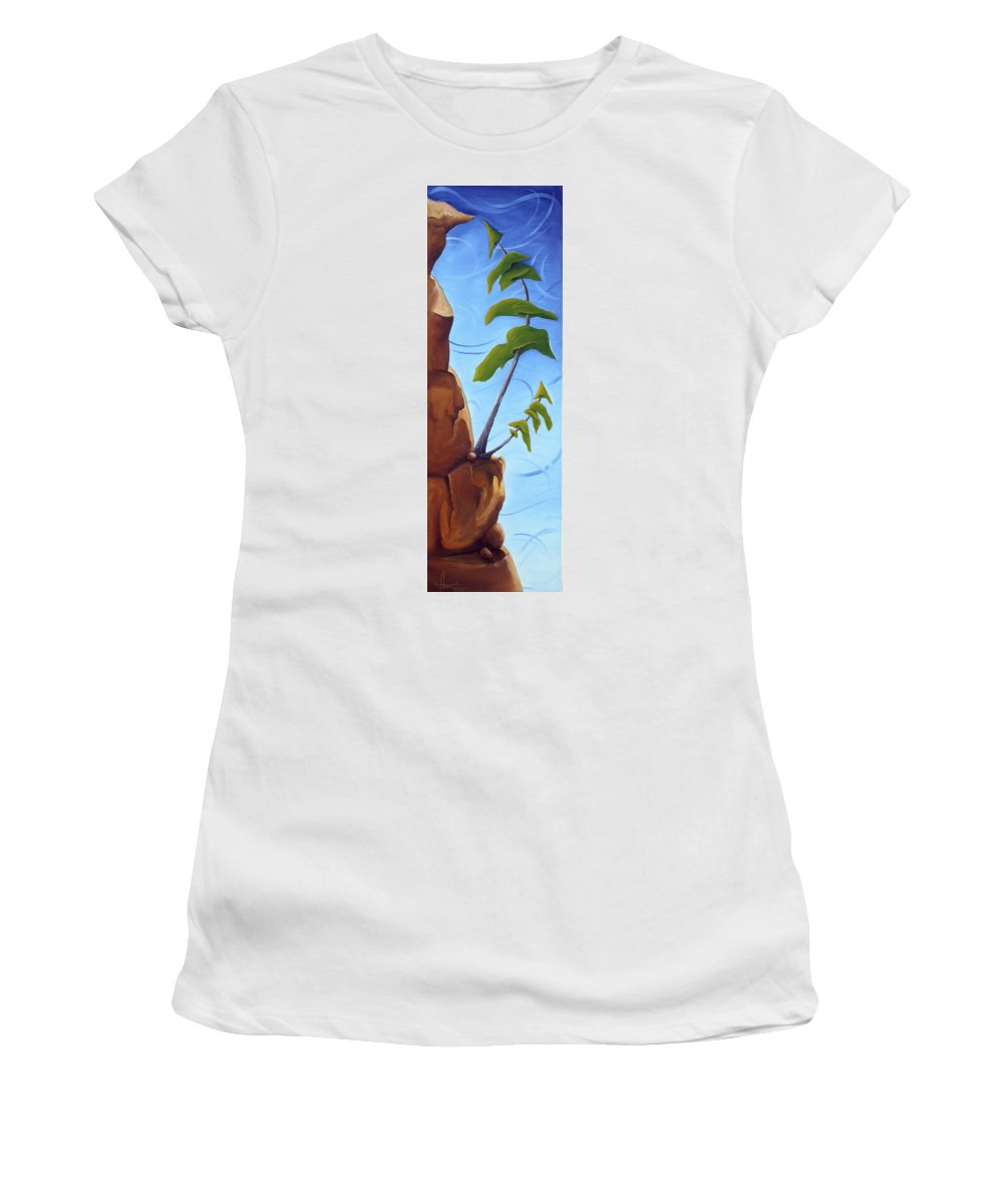 Landscape Women's T-Shirt (Athletic Fit) featuring the painting Goals by Richard Hoedl