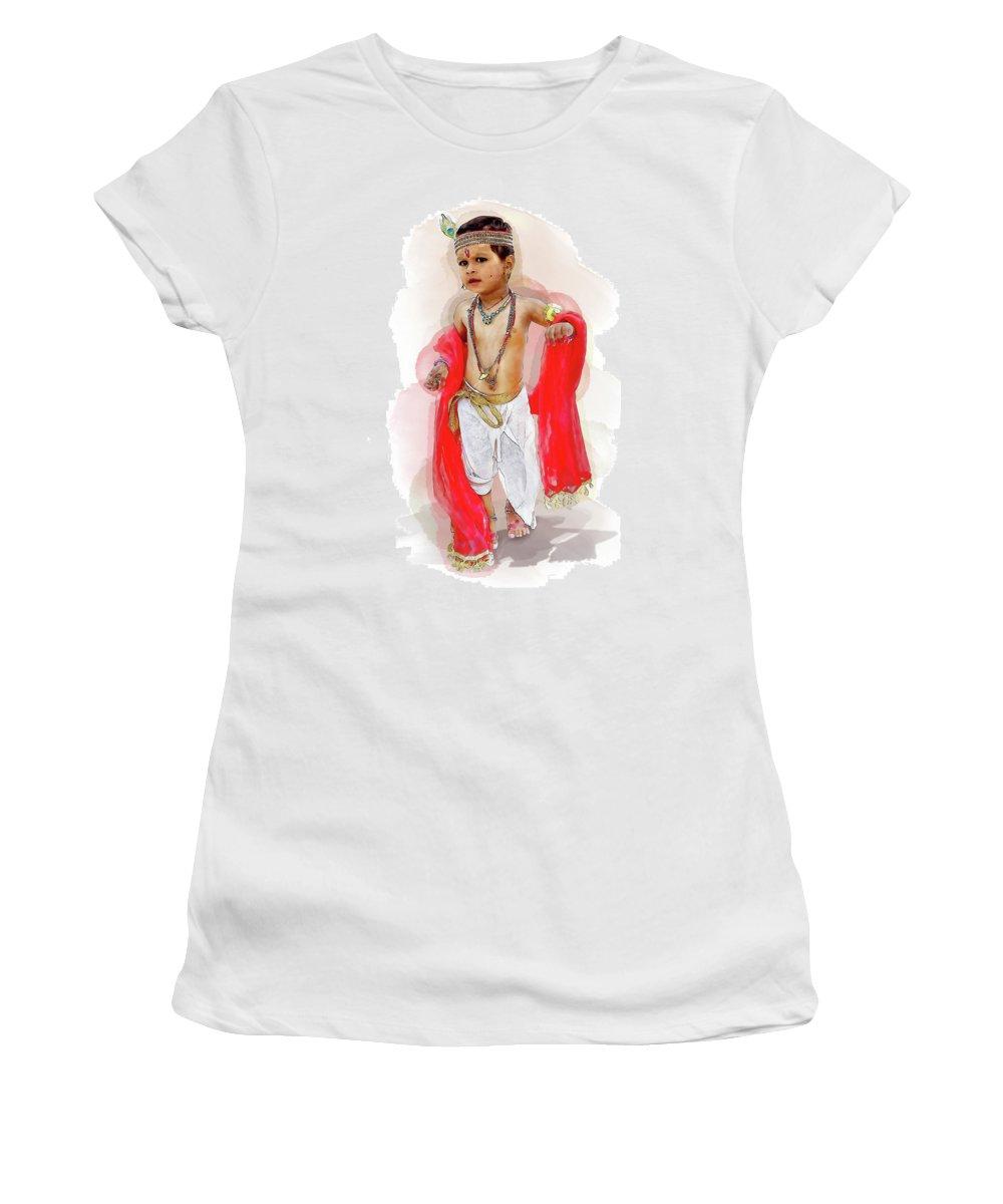 Krishna Consciousness Women's T-Shirt (Athletic Fit) featuring the digital art God Krishna Style Watercolor by Lakshmikanth Kummari