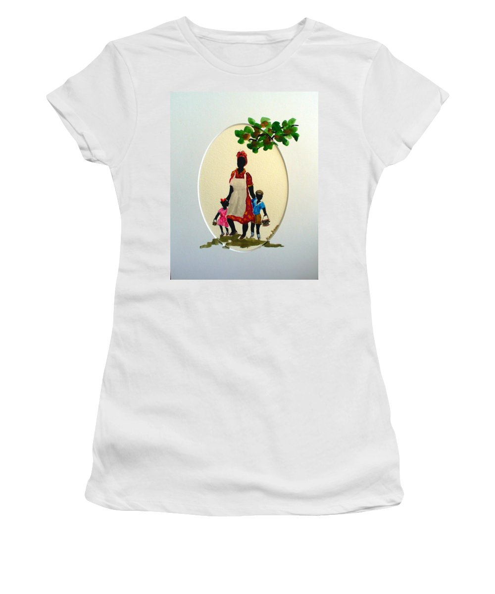 Caribbean Children Women's T-Shirt (Athletic Fit) featuring the painting Going To School by Karin Dawn Kelshall- Best